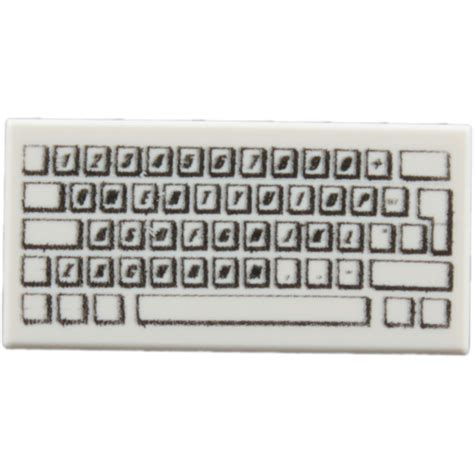 keyboard pattern history lego white tile 1 x 2 with pc keyboard pattern with groove