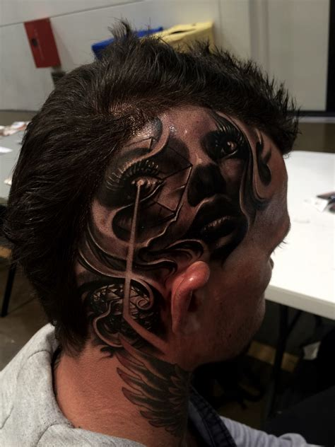tattoo on head by carl grace tattoos inkedcollector