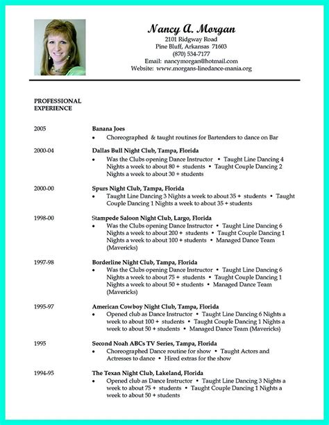 dancer resume exles resume can be used for both novice and professional