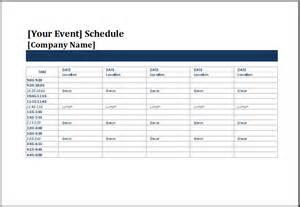 Events Schedule Template by Ms Excel Five Day Event Schedule Template Excel Templates