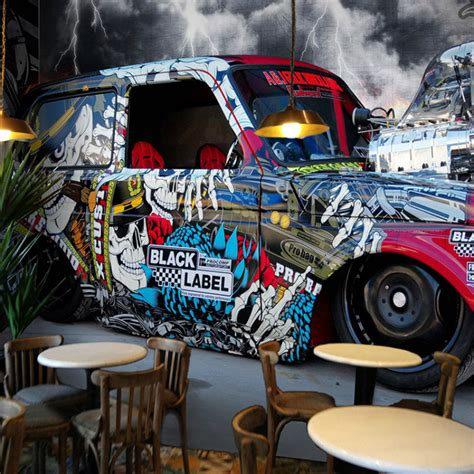 custom stereoscopic car painting graffiti 3d wallpaper ktv bar cafe guitar mural