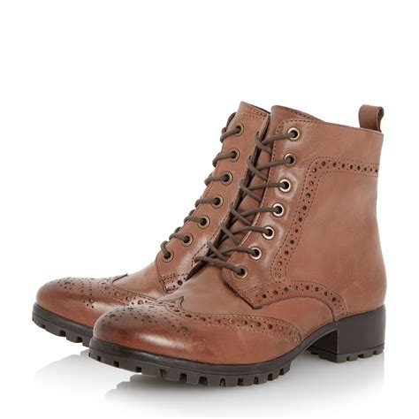 dune brogues leather ankle boots in brown lyst
