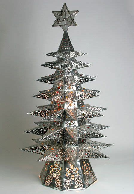 lighted natural punched tin star christmas tree with
