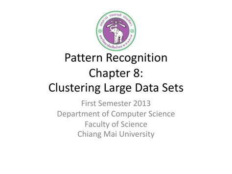 pattern recognition algorithms for data mining free download ppt pattern recognition chapter 8 clustering large data
