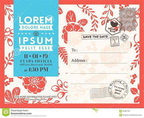 floral postcard background template for wedding invitation