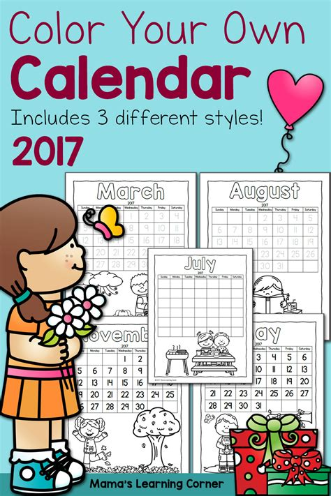 color calendar color your own calendar 2017 mamas learning corner