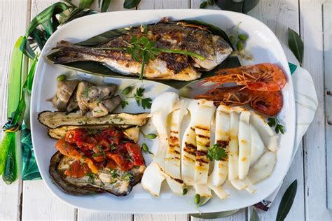 grilled seafood and vegetable platter
