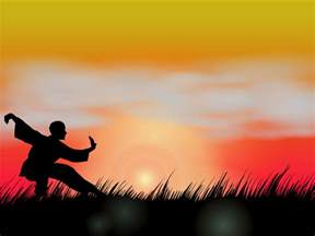 wushu at sunset ppt backgrounds black red sports