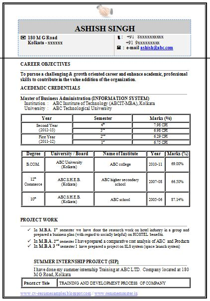 Cv Format Doc For Mba Freshers professional curriculum vitae resume template for all