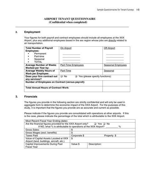 Appendix I Sle Questionnaire For Tenant Surveys Guidebook For Conducting Airport User Tenant Survey Template