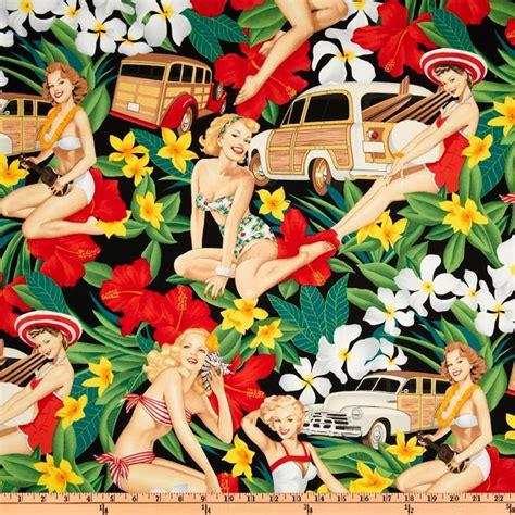 pin up pattern fabric pin ups aloha girls black discount designer fabric