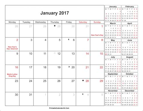 Calendar 2017 Excel With Holidays India January 2017 Calendar With Holidays Usa Uk Canada