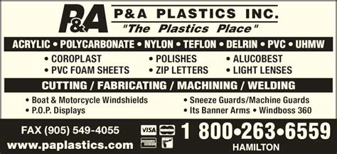 boat windshields edmonton p a plastics inc hamilton on 150 main st e canpages