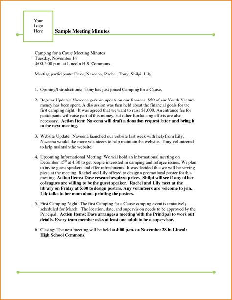 staff meeting minutes template professional sample templates