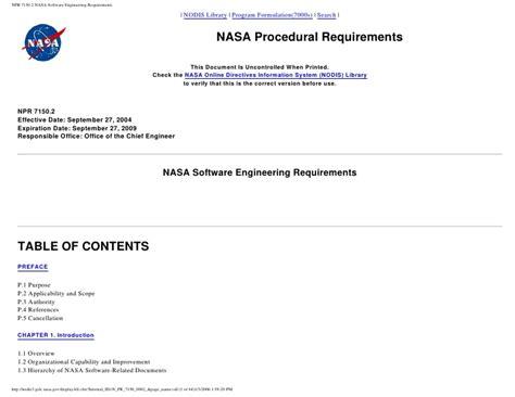 npr 7150 2 nasa software engineering requirements