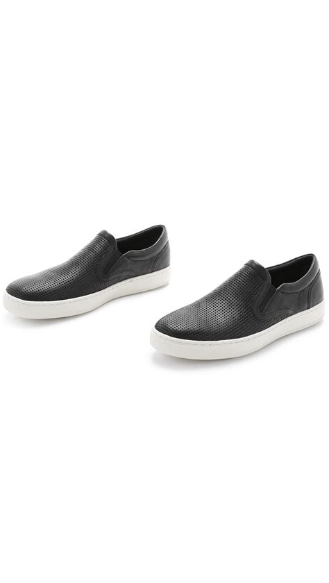 vince mens sneakers vince ace perforated leather slip on sneakers in black for