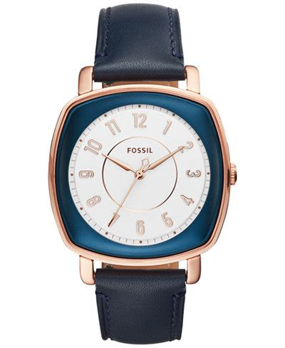 Fossil Idealist Rosegold fossil s idealist blue leather 36mm