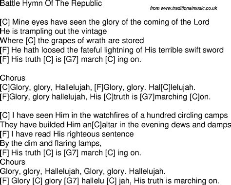 printable lyrics to battle hymn of the republic old time song lyrics with guitar chords for battle hymn of