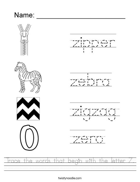 Words Starting Letter Z letter z worksheets lesupercoin printables worksheets