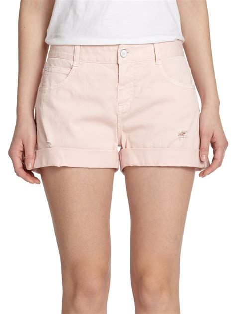 light pink denim shorts lyst stella mccartney distressed denim shorts in pink