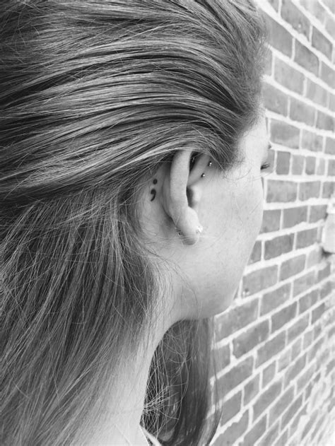 semicolon tattoo behind ear 48 best images about tatoos on my chemical