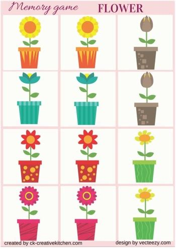 printable games about flowers flower memory game free printables creative kitchen
