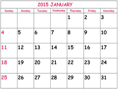blank calendar 2015 free download calendar