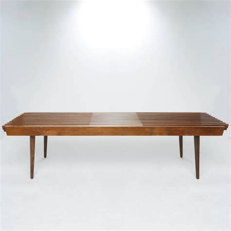 george nelson style bench slatted wood bench in the style of george nelson for