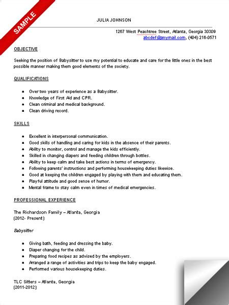 Babysitting Resume by Resume Sle Ready Set Work
