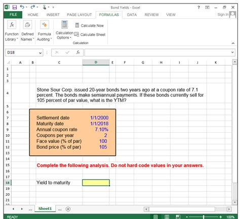 excel formula layout solved bond yields excel file home nsert page layout form