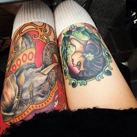 tattoo name upside down colourful thigh tattoos upside down d but impressive