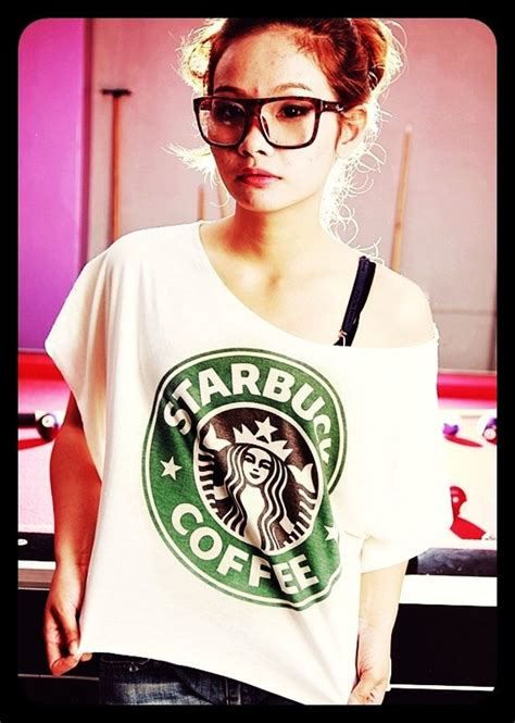 43813 Wide Neck Casual Top starbucks wide neck t shirt crop top t shirt casual
