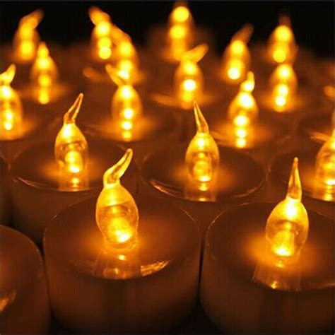 small electric candle ls 24 pcs yellow mini led tea lights candle with timer glow