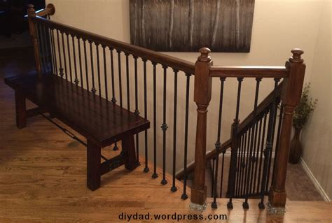 Banister Tops by Replacing Wood Balusters With Wrought Iron Sort Of Diy