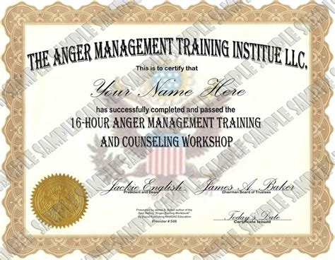 Anger Management 16 Hour 24 Lesson Anger Management Class Anger Management Completion Certificate Template