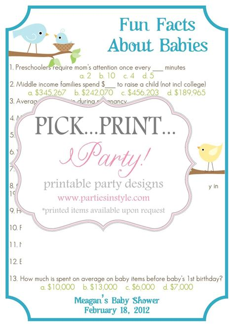 Fun Baby Facts For Baby Showers by Baby Shower Game Fun Facts About Babies Trivia Printable