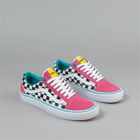 Baju Vans Golf Wang vans skool pro shoes golf wang blue pink white flatspot