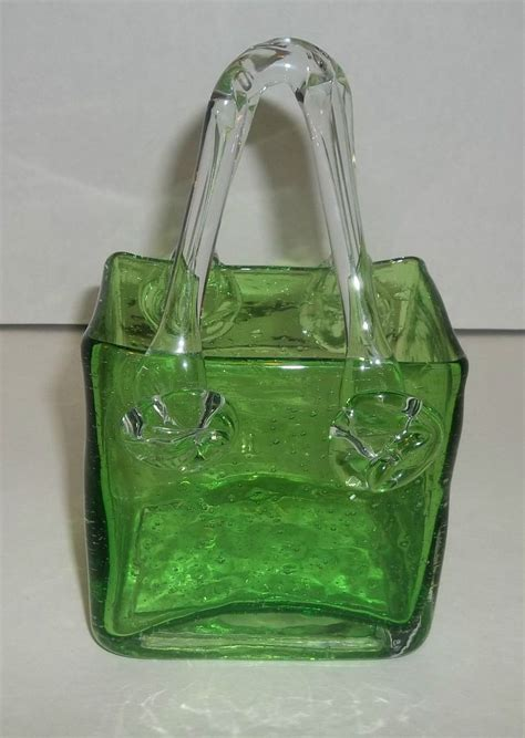 Glass Purse Vase green glass purse handbag vase design blown pontil smooth