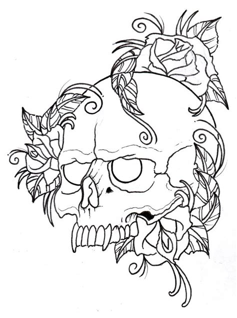rose tattoo coloring page skull and roses outline by vikingtattoo on deviantart