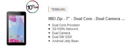 Imo Zip 7 tablet android murah berkualitas 800 ribuan