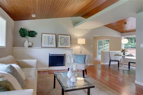 Wooden Ceiling Designs For Living Room Beautiful Wood Ceiling Modern Living Room Seattle By Lucas Design