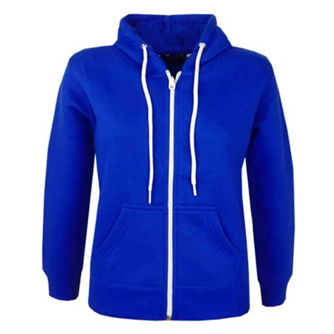 Blue Zip boys unisex plain fleece hoodie zip up style zipper age 5 13 years ebay