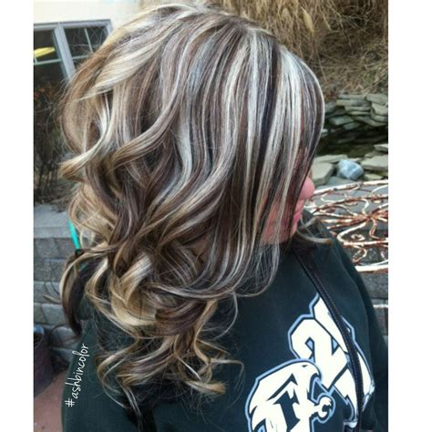 chunky high and lowlights highlights pictures highlights lowlights insta ashbincolor brunette blonde