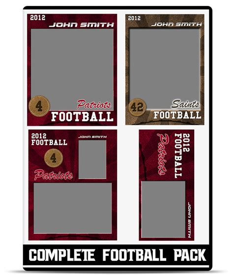 football player card template football complete pack teamtemplates