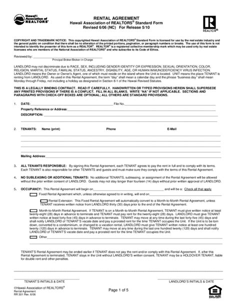 Application Form Rental Agreement Form Hawaii One Year Lease Template