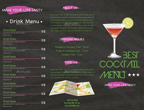 Cocktail Menu Templates 54 Free Psd Eps Documents Download Free Premium Templates Drink Menu Template