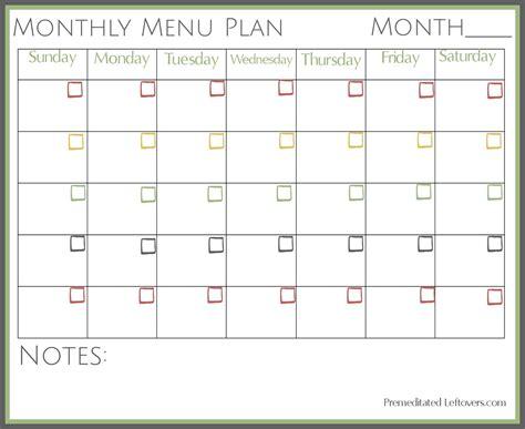 monthly dinner menu template free printable monthly menu plan printable forms etc