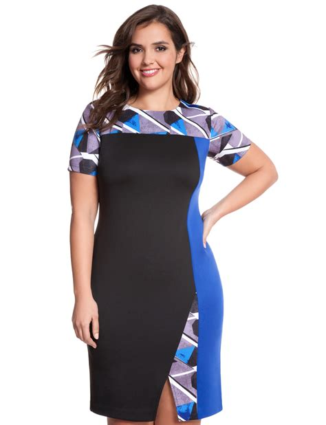 Geo Print Dress geo print asymmetrical colorblock dress s plus