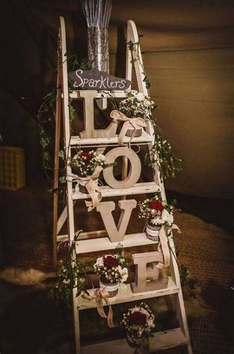 vintage rustic wedding decoration ideas  ladders