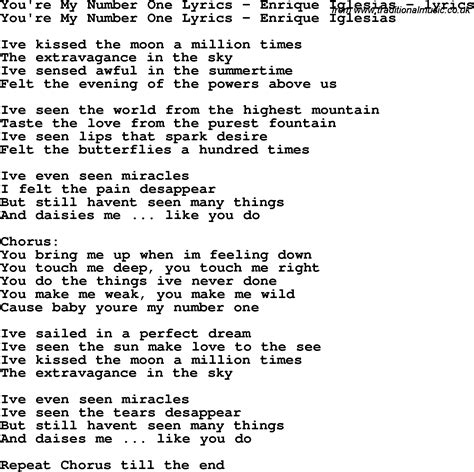 my lyrics song lyrics for you re my number one lyrics enrique